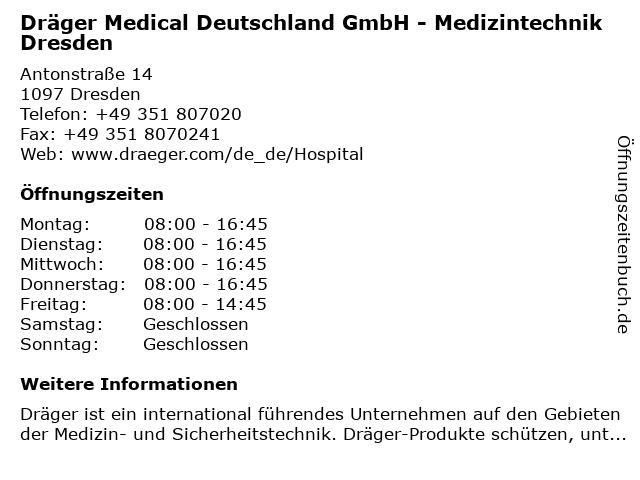 Dräger Medical Deutschland GmbH - Medizintechnik Dresden in Dresden: Adresse und Öffnungszeiten