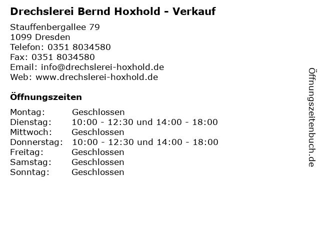 Drechslerei Bernd Hoxhold - Verkauf in Dresden: Adresse und Öffnungszeiten