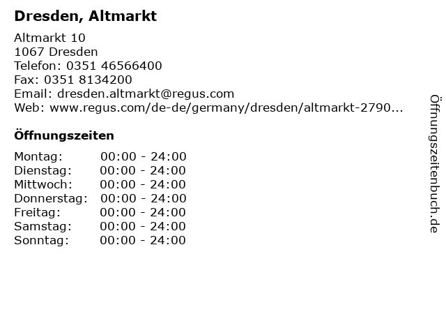 Dresden, Altmarkt in Dresden: Adresse und Öffnungszeiten