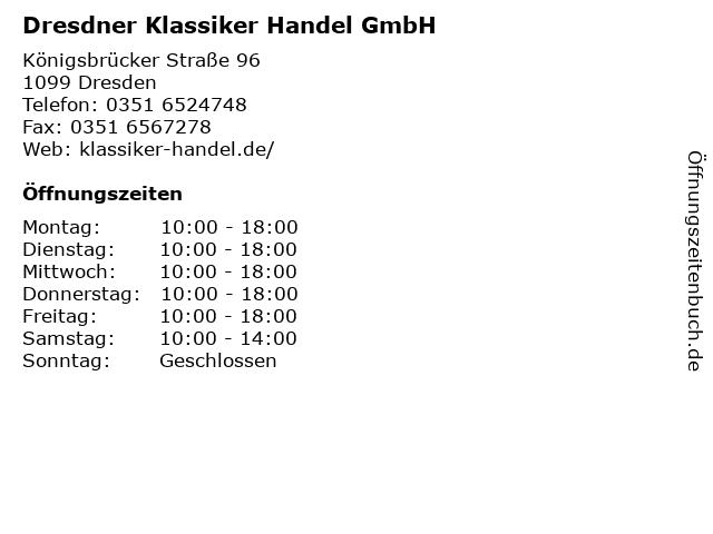 Dresdner Klassiker Handel GmbH in Dresden: Adresse und Öffnungszeiten