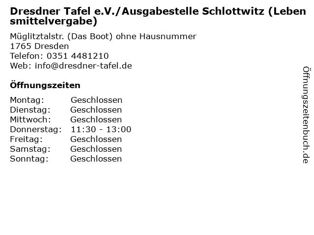 Dresdner Tafel e.V./Ausgabestelle Schlottwitz (Lebensmittelvergabe) in Dresden: Adresse und Öffnungszeiten