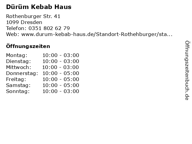 Dürüm Kebab Haus in Dresden: Adresse und Öffnungszeiten