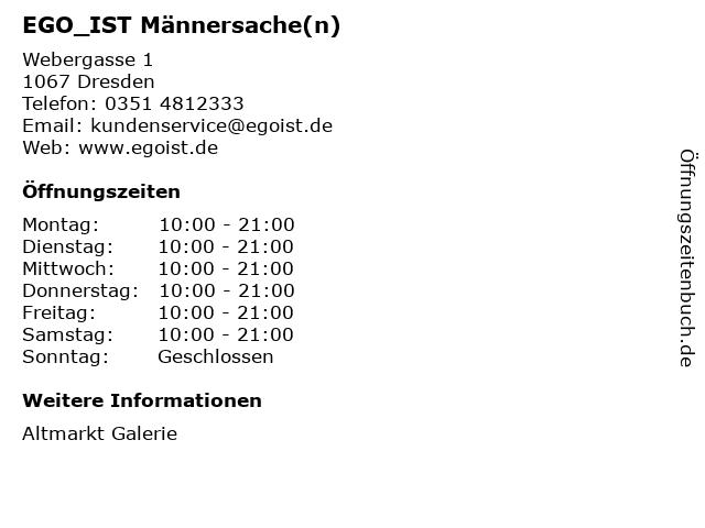 EGO_IST Männersache(n) in Dresden: Adresse und Öffnungszeiten