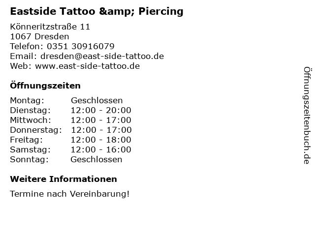 Eastside Tattoo & Piercing in Dresden: Adresse und Öffnungszeiten