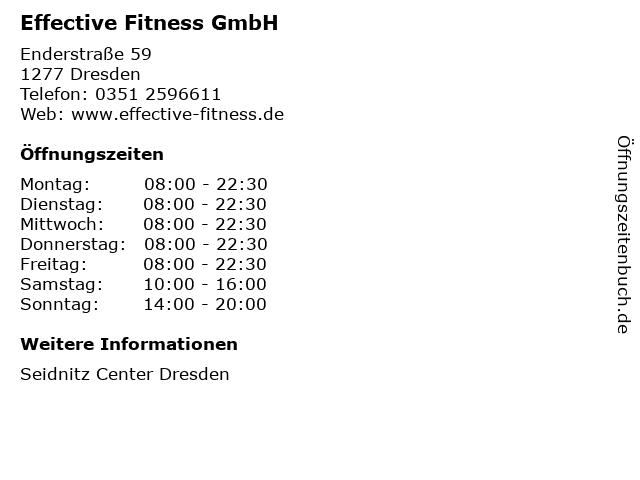 Effective Fitness GmbH in Dresden: Adresse und Öffnungszeiten