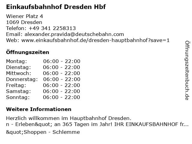 Einkaufsbahnhof Dresden Hbf in Dresden: Adresse und Öffnungszeiten