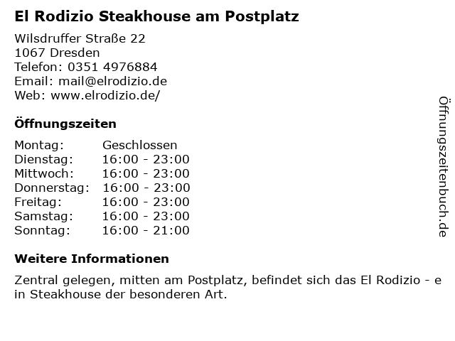 El Rodizio in Dresden: Adresse und Öffnungszeiten