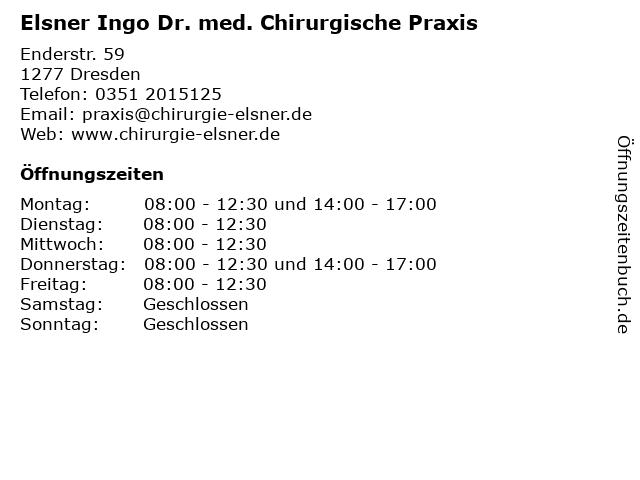 Elsner, Dr. med. Ingo in Dresden: Adresse und Öffnungszeiten