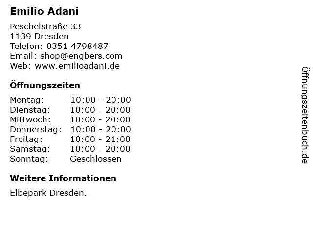 Emilio Adani in Dresden: Adresse und Öffnungszeiten