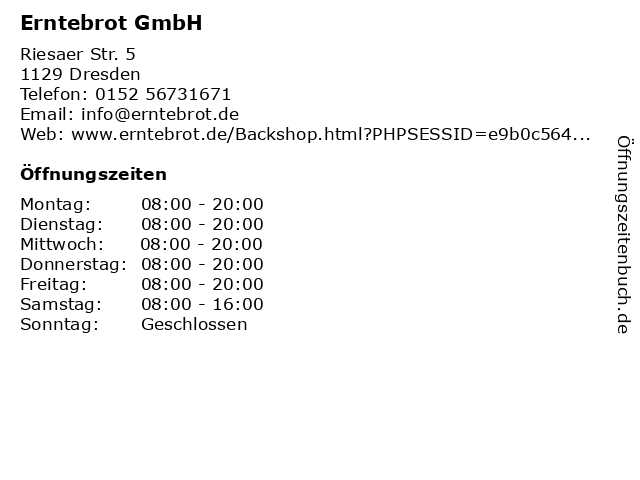 Erntebrot GmbH in Dresden: Adresse und Öffnungszeiten