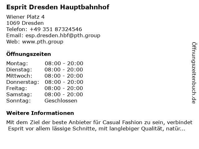 Esprit Dresden Hauptbahnhof in Dresden: Adresse und Öffnungszeiten
