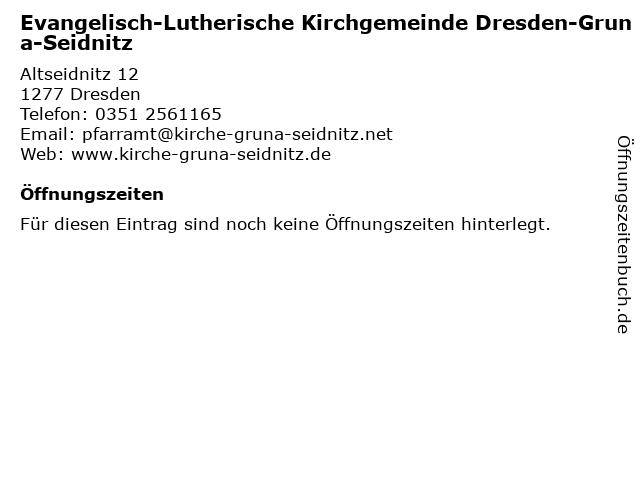 Dresden-Gruna-Seidnitz in Dresden: Adresse und Öffnungszeiten