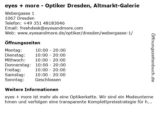 Eyes + More GmbH in Dresden: Adresse und Öffnungszeiten