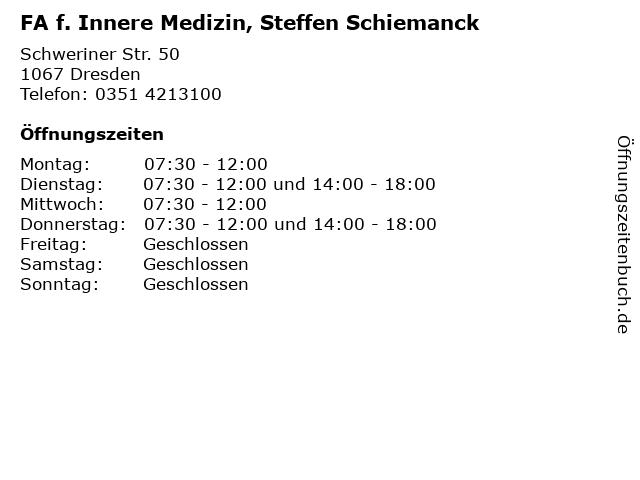 FA f. Innere Medizin, Steffen Schiemanck in Dresden: Adresse und Öffnungszeiten
