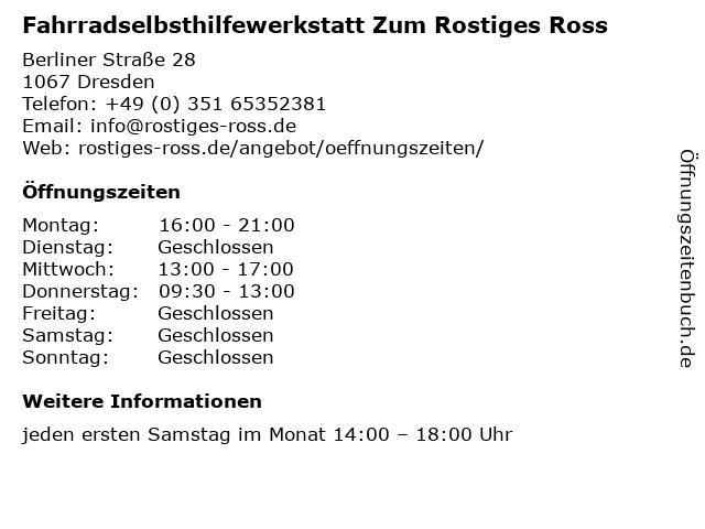 Fahrradselbsthilfewerkstatt Zum Rostiges Ross in Dresden: Adresse und Öffnungszeiten