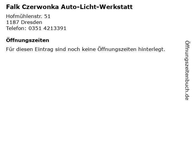 Falk Czerwonka Auto-Licht-Werkstatt in Dresden: Adresse und Öffnungszeiten