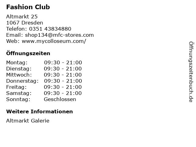 Fashion Club in Dresden: Adresse und Öffnungszeiten