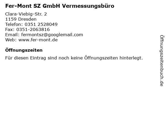 Fer-Mont SZ GmbH Vermessungsbüro in Dresden: Adresse und Öffnungszeiten