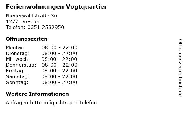 Ferienwohnungen Vogtquartier in Dresden: Adresse und Öffnungszeiten