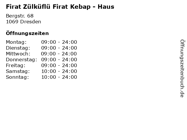 Firat Zülküflü Firat Kebap - Haus in Dresden: Adresse und Öffnungszeiten