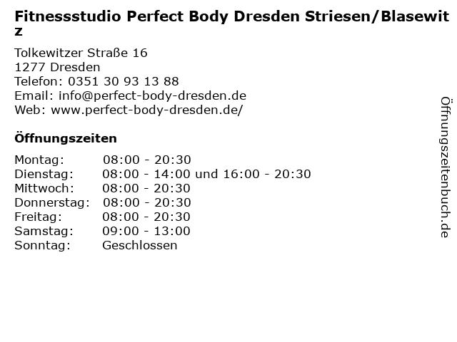 Fitnessstudio Perfect Body Dresden Striesen/Blasewitz in Dresden: Adresse und Öffnungszeiten