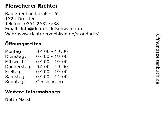 Fleischerei Richter GmbH & Co. KG in Dresden: Adresse und Öffnungszeiten