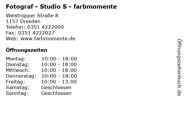 Fotograf - Studio S - farbmomente in Dresden: Adresse und Öffnungszeiten