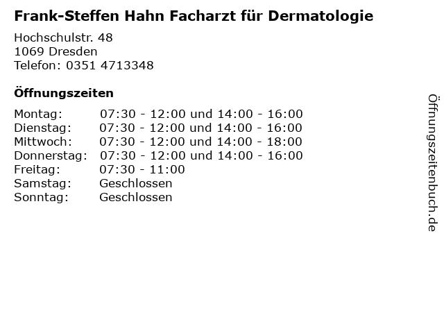 Frank-Steffen Hahn Facharzt für Dermatologie in Dresden: Adresse und Öffnungszeiten