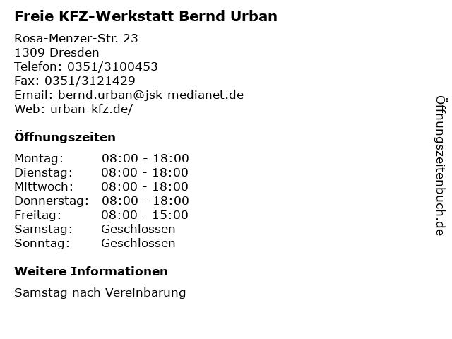 Freie KFZ-Werkstatt Bernd Urban in Dresden: Adresse und Öffnungszeiten