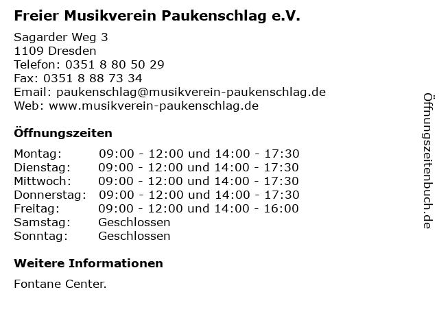 Freier Musikverein Paukenschlag e.V. in Dresden: Adresse und Öffnungszeiten
