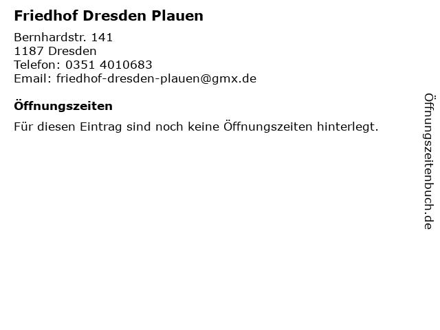 Friedhof Dresden Plauen in Dresden: Adresse und Öffnungszeiten