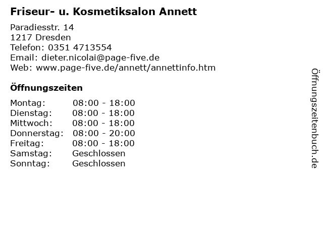 Friseur- u. Kosmetiksalon Annett in Dresden: Adresse und Öffnungszeiten