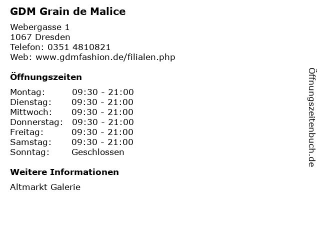 GDM Grain de Malice in Dresden: Adresse und Öffnungszeiten