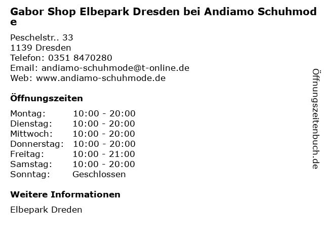 Gabor Shop Elbepark Dresden bei Andiamo Schuhmode in Dresden: Adresse und Öffnungszeiten