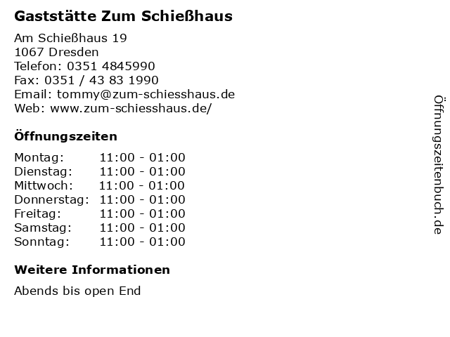 Gaststätte Zum Schießhaus in Dresden: Adresse und Öffnungszeiten