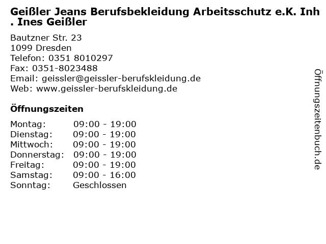 Geißler Jeans Berufsbekleidung Arbeitsschutz e.K. Inh. Ines Geißler in Dresden: Adresse und Öffnungszeiten