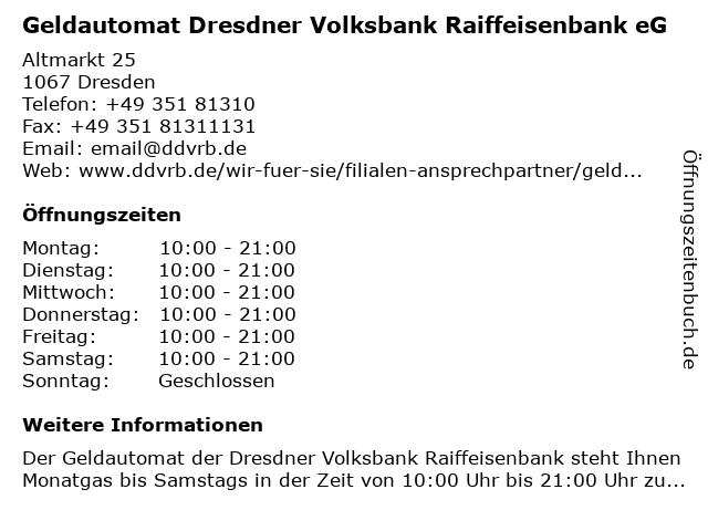Geldautomat Dresdner Volksbank Raiffeisenbank eG in Dresden: Adresse und Öffnungszeiten