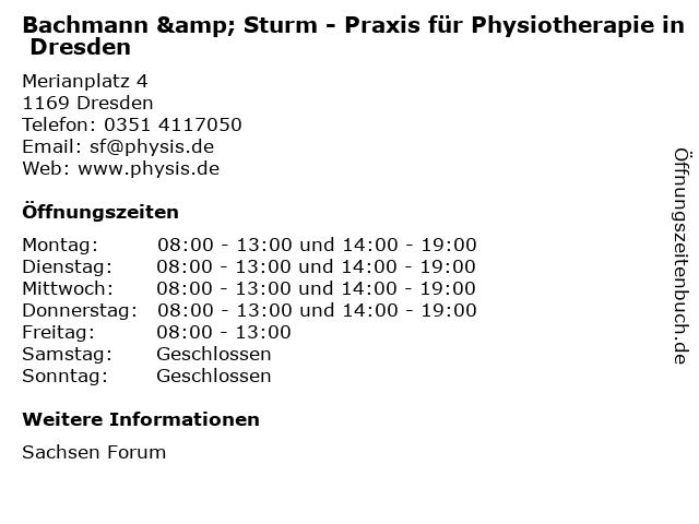 Gemeinschaftspraxis für Physiotherapie Bachmann & Sturm in Dresden: Adresse und Öffnungszeiten