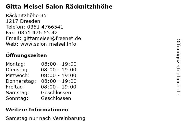 Gitta Meisel Salon Räcknitzhhöhe in Dresden: Adresse und Öffnungszeiten