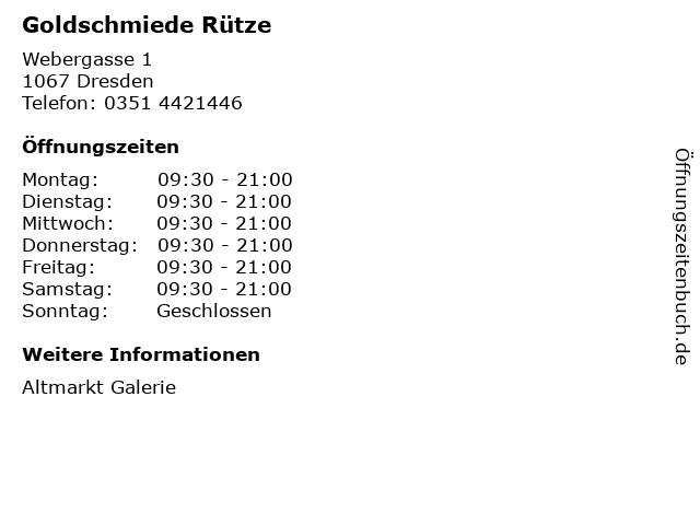 Goldschmiede Rütze in Dresden: Adresse und Öffnungszeiten