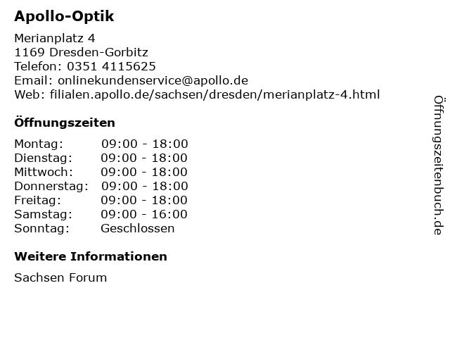 Apollo-Optik Holding GmbH & Co. KG in Dresden-Gorbitz: Adresse und Öffnungszeiten