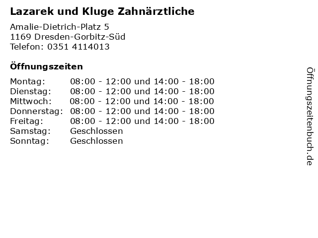 Lazarek und Kluge Zahnärztliche in Dresden-Gorbitz-Süd: Adresse und Öffnungszeiten