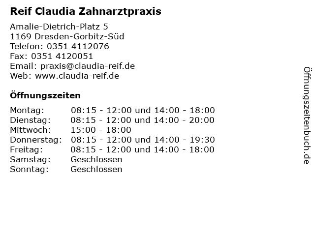 Reif Claudia Zahnarztpraxis in Dresden-Gorbitz-Süd: Adresse und Öffnungszeiten