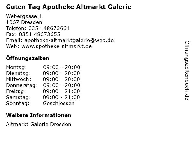Guten Tag Apotheke Altmarkt Galerie in Dresden: Adresse und Öffnungszeiten