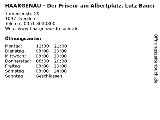 HAARGENAU - Der Friseur am Albertplatz, Lutz Bauer in Dresden: Adresse und Öffnungszeiten