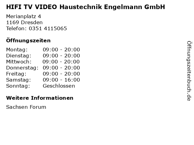 HIFI TV VIDEO Haustechnik Engelmann GmbH in Dresden: Adresse und Öffnungszeiten