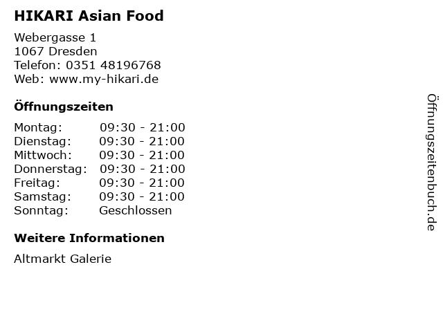 HIKARI Asian Food in Dresden: Adresse und Öffnungszeiten