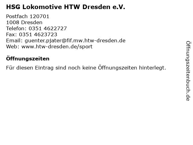 HSG Lokomotive HTW Dresden e.V. in Dresden: Adresse und Öffnungszeiten