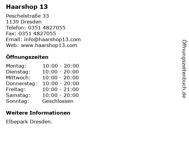 Haarshop 13 in Dresden: Adresse und Öffnungszeiten