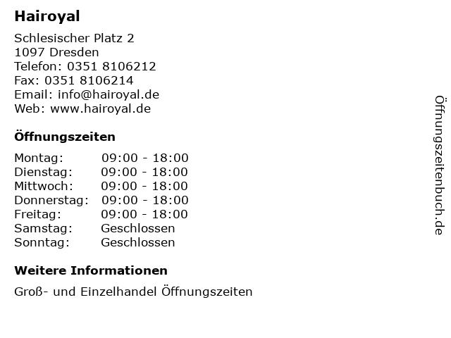 Hairoyal in Dresden: Adresse und Öffnungszeiten